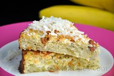 Healthy Coconut-Banana Cake (Sugar-Free and Gluten-Free) Sin Gluten, Gluten Free, Desserts Sains, Flourless Cake, Good Food, Yummy Food, Banana Coconut, Healthy Cake, Food Cakes