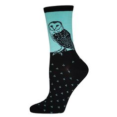 Let your style take flight with a pair of barn owl women's crew socks by Socksmith.