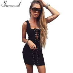Simenual Crisscross lace up hollow out summer dress bodycon bandage elegant sexy hot short tanks party dresses women sundresses