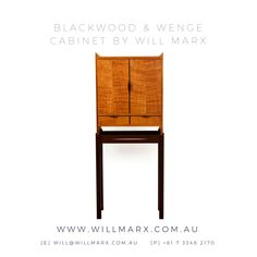 A streamline elegant solid timber cabinet in a minimalist style, this beautiful wooden cabinet showcases the beautiful rich marbly grains that are found in the Tasmanian Blackwood and Wenge timber species. 