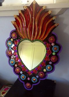 Sacred Heart tin metal mirror / extra large / by TheVirginRose
