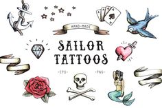 Sailor Tattoos by Marie Ockleford on @creativemarket