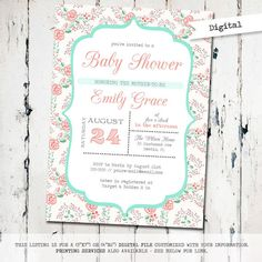 Printable Baby Girl Shower Invitation, floral baby shower invitation, shabby, digital, printable invitation (JPD165) on Etsy, $15.00