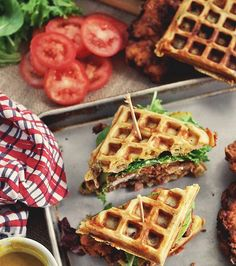 Fried Chicken and Waffle Sandwiches are the ultimate, decadent brunch!