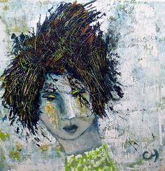 Valmue / par Christyne Proulx / ©2016/ technique mixte sur bois / 24X24/ figurative, contemporary art, acrylique, art painting, Street Art (Urban Art), Canvas, Women, Portraits, femme, street art, patchwork, peinture, contemporain, abstrait, tableau street art,expressionnisme