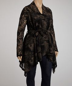 Take a look at this Black Floral Lace Jasmine Cardigan - Plus by CANARI on #zulily today!
