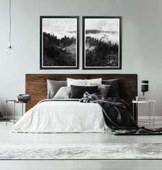 Black And White Forest Print Black And White Abstract Art Print Large Black And White Wall Art Black And White Abstract Wall Art Forest Art - Schlafzimmer Bedroom Apartment, Home Decor Bedroom, Bedroom Ideas, White Apartment, Bedding Decor, Budget Bedroom, Bedding Shop, Bedroom Wall Art Above Bed, Above Bed Decor