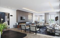 Visualizing a Sophisticated Penthouse Design in Stunning 3D Rendering - http://freshome.com/2014/06/24/visualizing-sophisticated-penthouse-apartment-design-stunning-3d-rendering/
