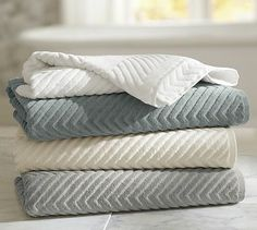 Shop bath towels, hand towels and washcloths from Pottery Barn. Our collection includes organic and hydrocotton towels in a rainbow of colors, perfect for any style. Bath Towel Sets, Bath Towels, Bath Mat, Restauration Hardware, Bathroom Towel Decor, Bathroom Ideas, Bathroom Colors, Embroidered Bedding, Egyptian Cotton Towels