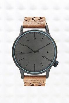 Komono Winston Uhr mit geflochtenem Armband in Braun