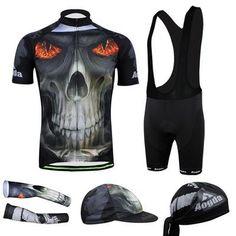 Men's Black Skull Short Sleeve Cycling Jersey Full Set #Cycling #CyclingGear #CyclingJersey #CyclingJerseySet