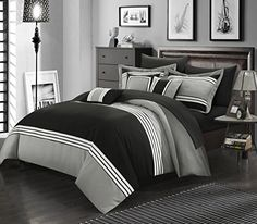 Perfect Home 10 Piece Fullerton Bed in a Bag Comforter set King Black ** Learn more by visiting the image link.