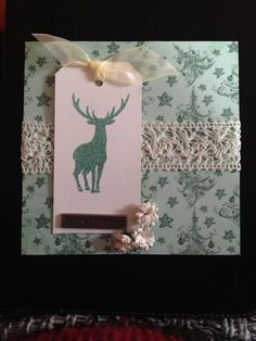 Reindeer Christmas card by Sherie at FranklinandDelilah with heat embossed stag from Lavinia stamps