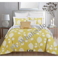 REVERSIBLE 3 Pcs Green & Gray Nature Print Cotton Duvet Comforter Set #Modern