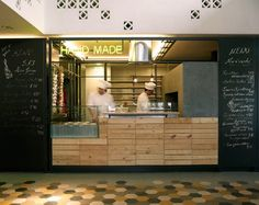 SOUK A Lebanese Food Market And Restaurant by K-studio Timber counter front and Tiled floor Deco Restaurant, Restaurant Concept, Restaurant Design, Industrial Restaurant, Restaurant Kitchen, Restaurant Ideas, Beirut, Trattoria Italiana, Mini Cafe