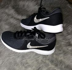 ec4a9c40dbb Swarovski Bling Black Nike Roshe Crystal Running Workout Shoe in ...