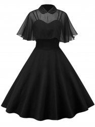 Vintage Pin Up Dress With Sheer Mesh Cape - BLACK
