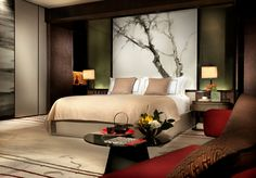 Brand new property: Modern hotel suite design with original work by local and international artists at Bryant Bryant Dewey Seasons Hotel Guangzhou Master Bedroom Interior, Home Bedroom, Modern Bedroom, Bedroom Decor, Bedrooms, Bedroom Colors, Hotel Interiors, Bed Furniture, Sweet Home