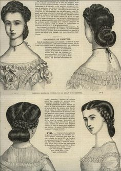 Ladies Of The La Modes Illustree for November 1862 Source by darlinedemott 1800s Fashion, 19th Century Fashion, Victorian Fashion, Victorian Era, Civil War Hairstyles, Historical Hairstyles, Victorian Hairstyles, Vintage Hairstyles, 1800s Hairstyles