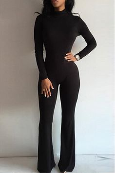 Long Sleeves Bodycon Jumpsuit with Back Zippper Design in Black