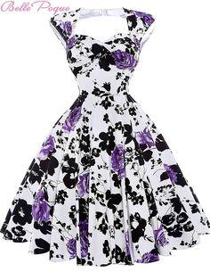 85a9cccbf23e Audrey Hepburn Vestidos Cotton Floral Print Vintage 50s Dresses Women Robe  Rockabilly Pin Up Dress BP000024 Alternative Measures - Brides    Bridesmaids ...