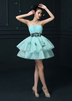 b902078945d Strapless Homecoming Dress Backless Mini Prom Dress Mint Green Organza  Tiered 3D Flower A Line Party