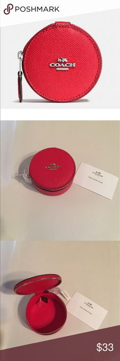 Coach Round Trinket Box Crossgrain leather. Zip closure. Color is Silver/Bright Red. Coach Accessories