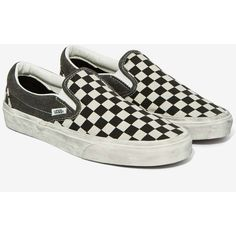 Vans Classic Slip-On Sneaker ($60) ❤ liked on Polyvore featuring shoes, sneakers, vans sneakers, black and white shoes, canvas shoes, white sneakers and slip on shoes