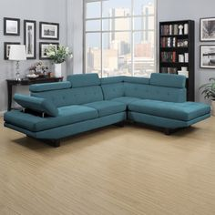 Handy Living Fontaine Caribbean Blue Linen 2-piece Sectional | Overstock.com Shopping - The Best Deals on Sectional Sofas