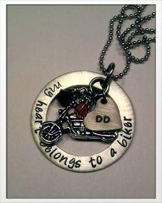 Custom hand stamped necklace. JBK MY Heart Belongs To ........ $35.00, via Etsy. My heart belongs to a biker