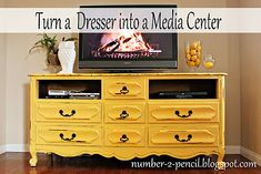 Turn a Dresser into a Media Center - yellow dresser converted into a TV stand