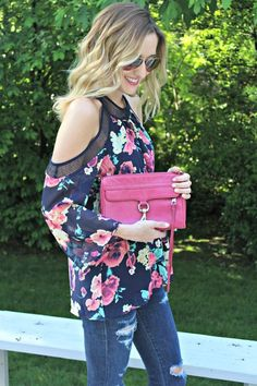 Spring 2017 Fashion. Cold shoulder Navy floral long sleeved top. Pink flowers. Distressed jeans. #stitchfix #influencer