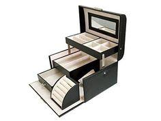 Sodynee Black Pu Leather Jewelry Display Box Organizer Tray Lockable Makeup Storage Case with Mirror