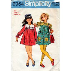 1970s Girl's Smock Dress Pattern Simplicity 9954 by BessieAndMaive