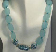 Aqua Sea Glass Necklace with Handmade Ceramic Accents