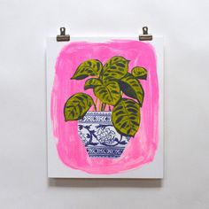 """A colorful neon addition to any room of the house or the perfect card to send when you really want to share your love. Green houseplant with blue and white vase on a pink backdrop. Print measures 11"""""""