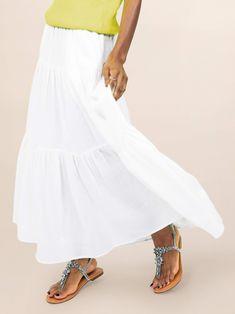 Maxi Skirts For Women, Long Maxi Skirts, White Outfits, Summer Outfits, Chiffon Maxi Dress, White Maxi, Ruffle Sleeve, Cute Fashion, Walmart