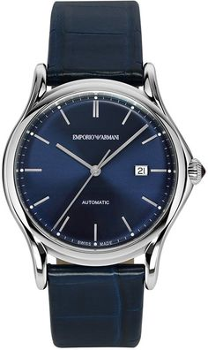Emporio Armani Swiss Made Automatic Strap Watch, Gentleman's Wardrobe, Emporio Armani, Jewelry Watches, Nordstrom, Man Shop, Mens Fashion, Jewlery, Leather, Blue