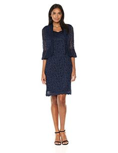 d9d861d0f06 RM Richards Womens Two Piece Funnel Ruffle Lace Jacket Dress Missy Navy 16  -- You