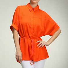 Bright orange shirt top Versatile top. Can be work for work, shopping, night out or parting with friends. Available in small, medium and large. Moon Collection Tops Blouses