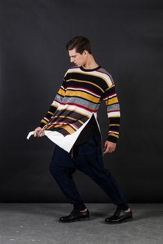 Insert stripe print Knitting Brushed pants Knitting