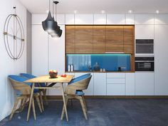 Choosing an accent color for a compact apartment is no easy task. It has to be a color you love, a shade with a little flexibility for future additions and embe Rustic Kitchen, New Kitchen, Living Room Kitchen, Kitchen Dining, Interior Decorating, Interior Design, Modern Kitchen Design, Dining Room Design, Kitchen Interior