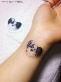 Animal tattoo / pet / small / papillon / dog / dog – foot tattoos for women quotes Small Dog Tattoos, Small Quote Tattoos, Foot Tattoos For Women, Small Tattoos With Meaning, Small Tattoos For Guys, Papillion Dog, Dog Memorial Tattoos, Special Tattoos, Animal Tattoos