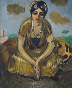 Kees van Dongen (1877-1968). Egyptienne au collier de perles, 1913, oil on canvas, 39 3/8 x 31 7/8 in. (100 x 81 cm.)