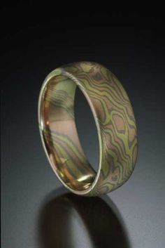 Mokume Gane Ring by James Binnion Metal Arts. Three Gold Ring in Woodgrain Pattern. non-etched half round band in mokume of yellow gold, palladium white gold and red gold. Photo Jewelry, Jewelry Art, Jewelry Design, Jewlery, Gold Rings, Gemstone Rings, Perfect Engagement Ring, Engagement Rings, White Gold
