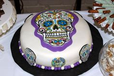Bride wanted a special cake to celebrate the groom's culture. Cake is margarita flavor with lime buttercream Day Of The Dead Cake, Halloween Birthday Cakes, Fancy Cakes, Food For Thought, Cupcake Cakes, Cupcakes, Amazing Cakes, Margarita, Nom Nom