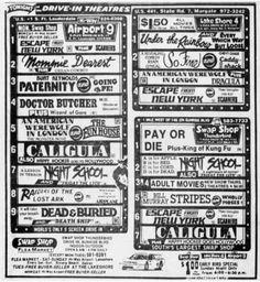 Drive Inn Movies, Drive In Movie Theater, Old Movies, Vintage Movies, Horror Posters, Movie Posters, Vintage Menu, Adventure Movies, Tv Ads