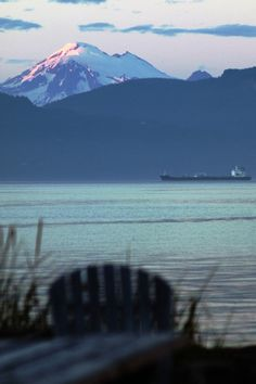 Alpenglow on Mt. Baker, Washington viewed from Guemes Island from across Samish Bay. July 6, 2014. Photo by Robert G. Schoenberg.