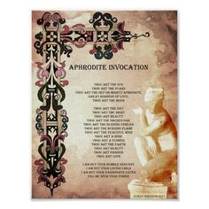 For LOVE SPELLS, call upon the Goddess of love, Aphrodite. This would be a great addition to your Book of Shadows. Get your Magick on! Size: x Gender: unisex. Material: Value Poster Paper (Matte). Magick Book, Wiccan Spell Book, Magick Spells, Candle Spells, Candle Magic, Spell Books, Wicca Love Spell, Summoning Spells, Hoodoo Spells