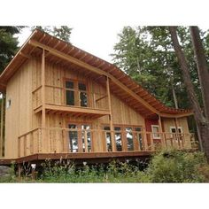 Knotty Western Red Cedar siding is perfect on this cabin on Guemes Island